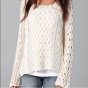Free People Cream Open Twist Knit Sweater